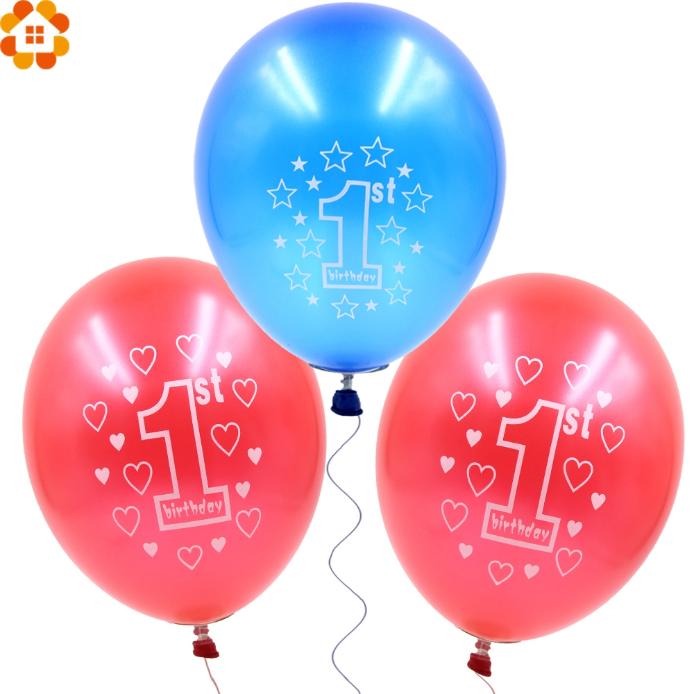 10PCS 12inch Baby 1 Year Birthday Balloons Printed Heart&Star Balloons Kids Birthday Home Party Decoration Baby Showers Supplies