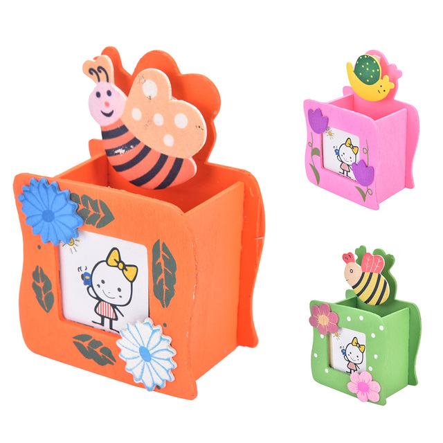 Child Kids Cartoon Multifunction Wood Pencil Pen Holders Stationery Container Office Supplies Organize Desk Accessories
