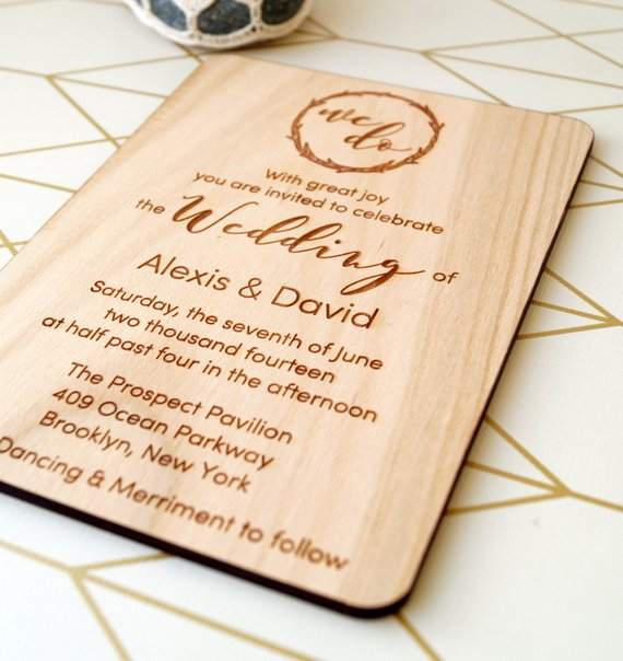 Us 13 43 16 Off Wooden Rustic Wedding Invitation Custom Name And Date Laser Cut With Envelops Etched In