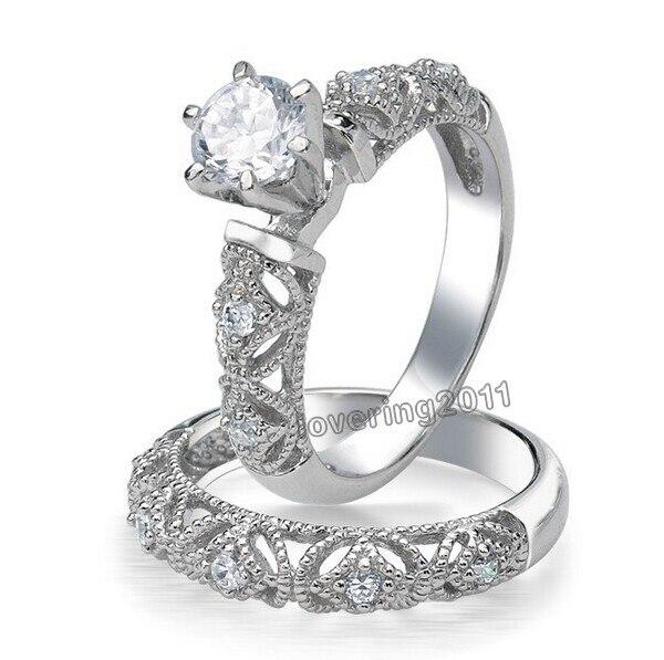 599fa735836c Tamaño 5-10 mujeres moda joyería 10KT oro blanco relleno redondo corte AAA  cúbicos zirconia compromiso de la boda de la señora anillo set para regalo