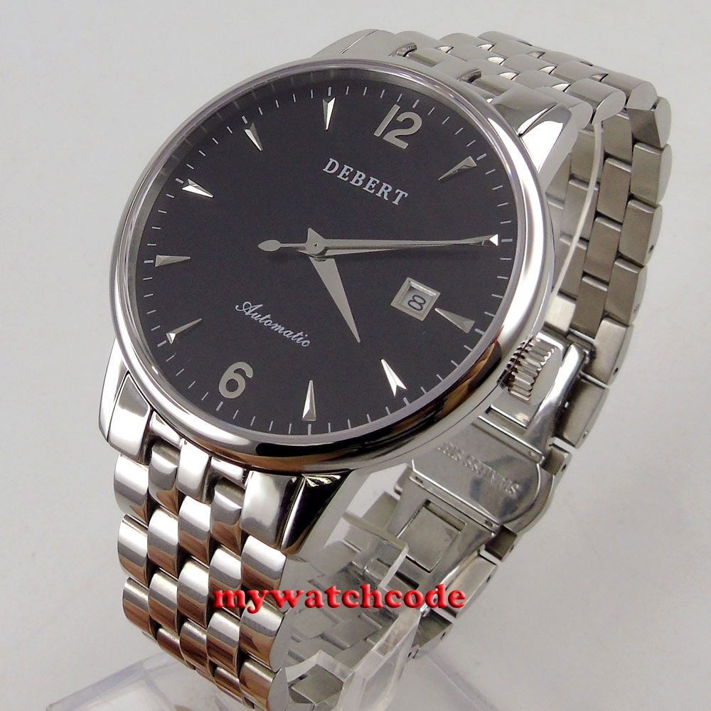 41mm Debert black dial steel case sapphire glass miyota 8215 automatic men watch41mm Debert black dial steel case sapphire glass miyota 8215 automatic men watch