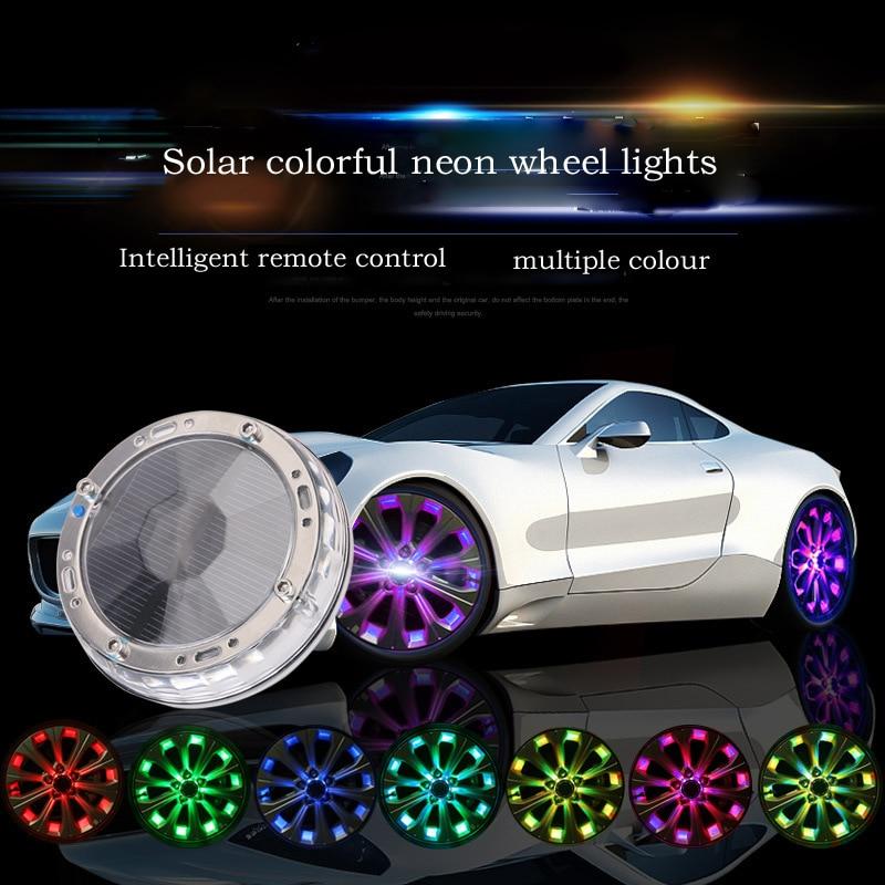 4pcs Led light strip Leading remote control smart solar wheel light RGB waterproof flash tire car decoration hinge neon стоимость
