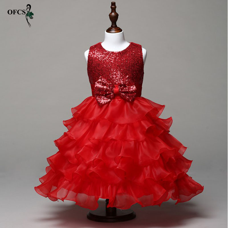 OFCS Summer Formal Kids Dress Red Sequins Girls Wedding Party Dresses Girl Clothes Dress Bridesmaid Children Clothing 4-15 Year