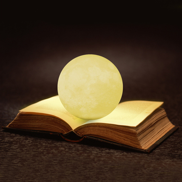 3D Print Moon Lamp Rechargeable Remote Control Bedroom Light Touch Switch USB Lamp Home Decor Creative Gift