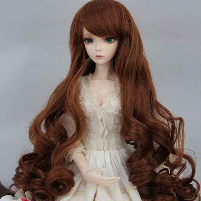 BJD SD Doll Wigs 1/3 1/4 1/6  Optional 4 color Long Curly Wave Roll