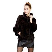 Норки трикотажные пальто с мехом норки одежды мех Женская мода лацкан пальто зимняя куртка меховая куртка Бесплатная доставка