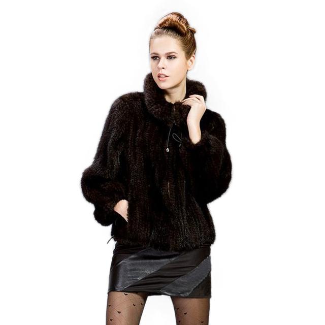 Abrigo de piel de pelo de visón de punto ropa de las mujeres de piel de visón chaqueta de solapa capa de la chaqueta de piel de invierno de La Manera Grande del envío libre tamaño