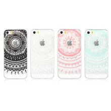 Фотография For iPhone 5 SE 5s Cases Cover Soft Silicone Clear Mandala Flower TPU Skin Gel Cell Phone Coque Etui For iPhone SE 5 S Capinha