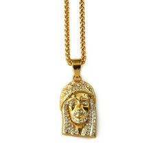 NYUK Gold Iced Out Lab Simulated Rhinestone Mini Micro Jesus Piece Pendant Necklace Hip Hop Crystal Chain Jewelry(Small Size)(China)