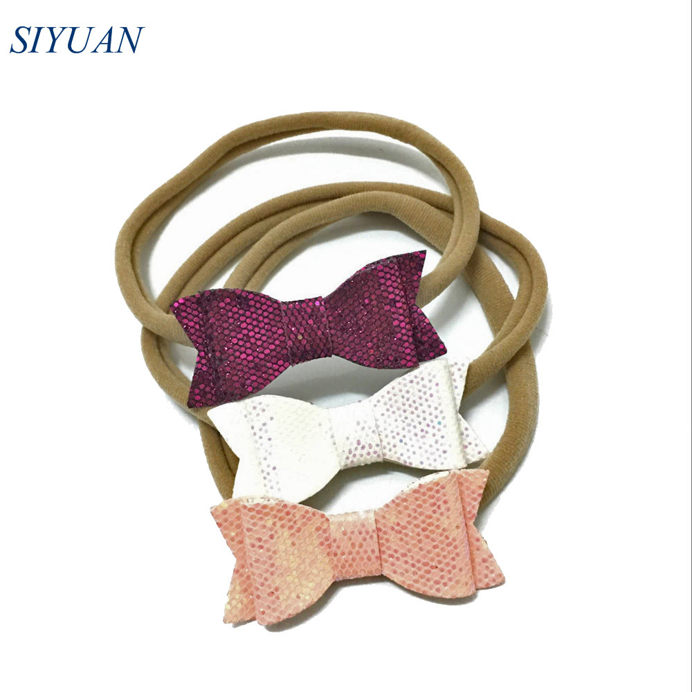 24pcs/lot Nude Nylon Elastic Headband with pu Leather Bow