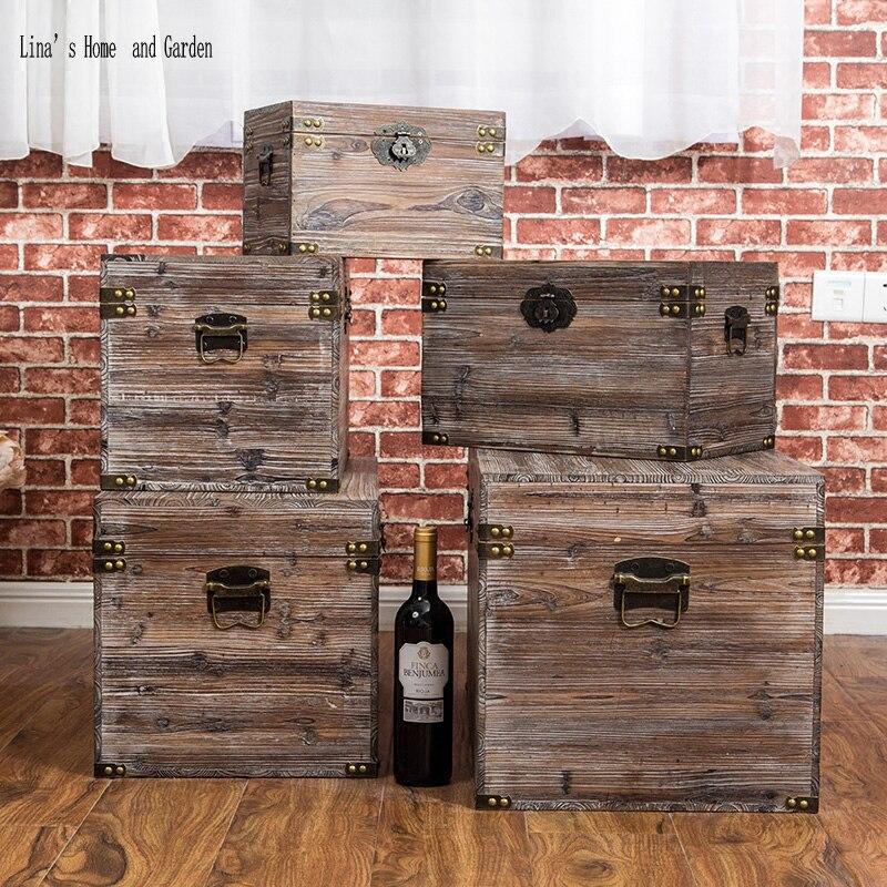 solid hand made antique wooden storage box (3)