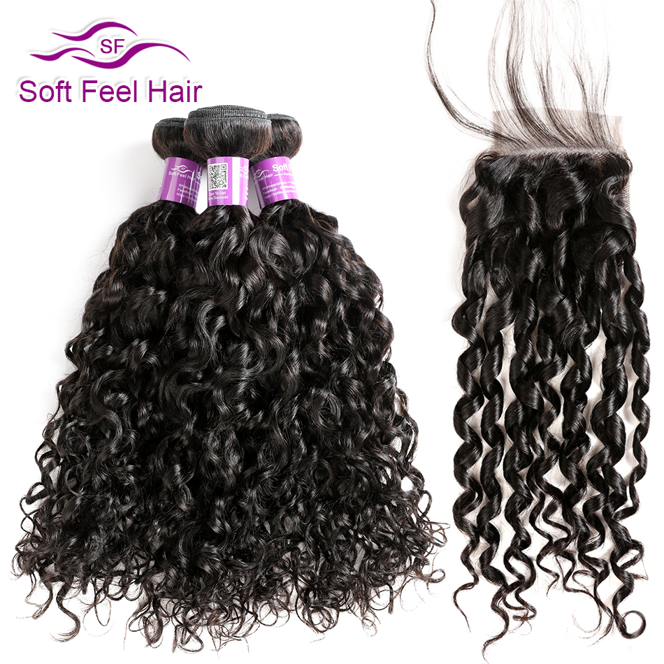 Soft Feel Hair Water Wave Bundles With Closure Brazilian Hair Weave Bundles With Closure Remy Human