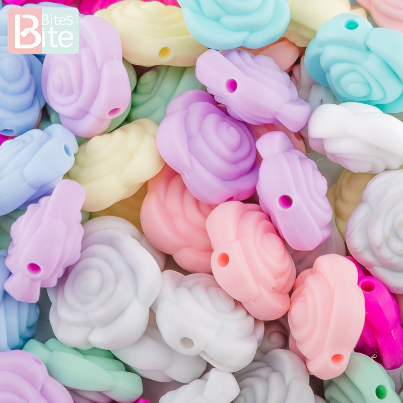 Bite Bites 10pc Baby Teether Silicone Beads Flower Food Grade Silicone Bead Teething Pendant For Pacifier BPA Free Baby Products