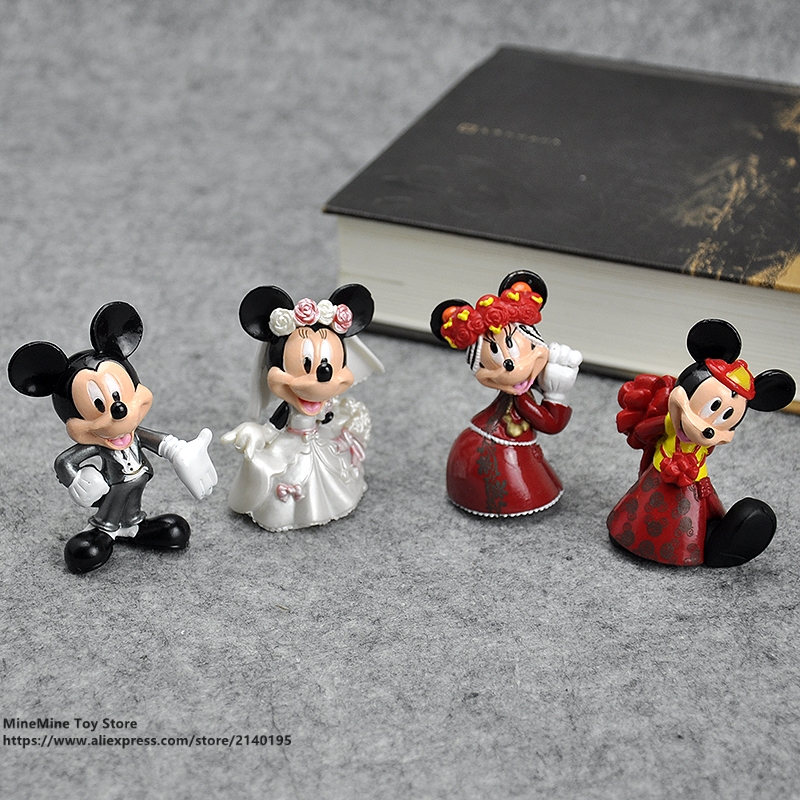 DISNEY Figurine Toy-Model Mouse Collection Anime-Decoration Posture Wedding Minnie Children
