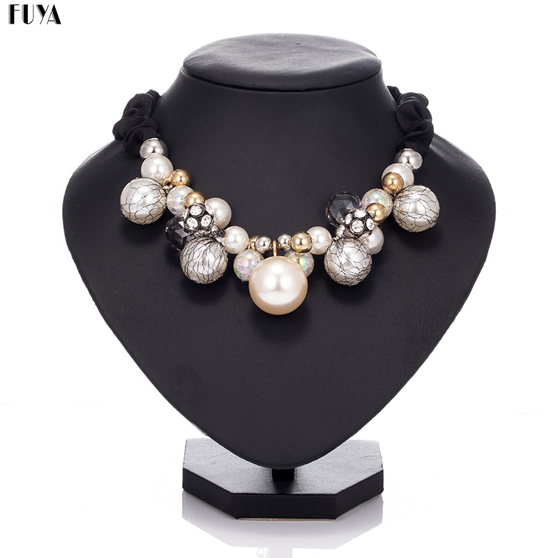 Fashion big imitation pearls beads women maxi necklace Black rope chain string crystal necklaces collar choker statement jewelry imitation pearls long chain necklaces