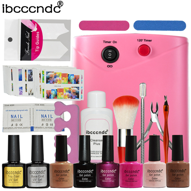 Ibcccndc Nail Art Manicure Tools 36W UV Lamp + 6 Color 10ml Soak off Nail Gel Base Top Coat Polish Remover Practice Set File Kit
