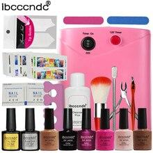Ibcccndc Nail Art Manicure Tools 36W UV Lamp + 6 Color 10ml Soak off Nail Gel Base Top Coat Polish Remover Practice Set File Kit