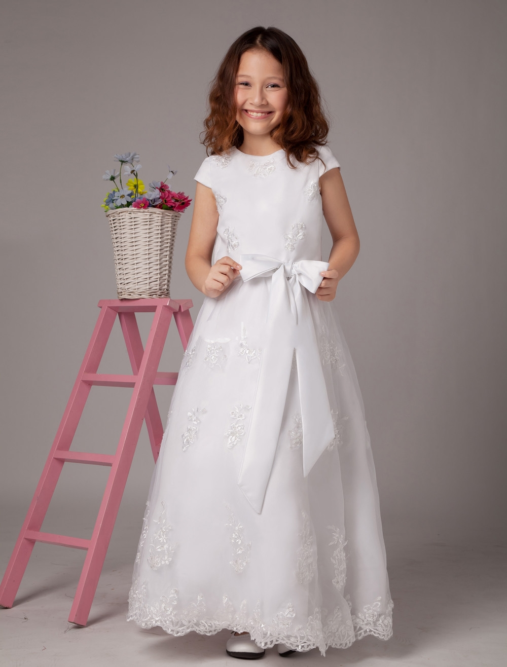 Ivory White Lace Flower Girl Dress Girls Pageant Dresses With Sash