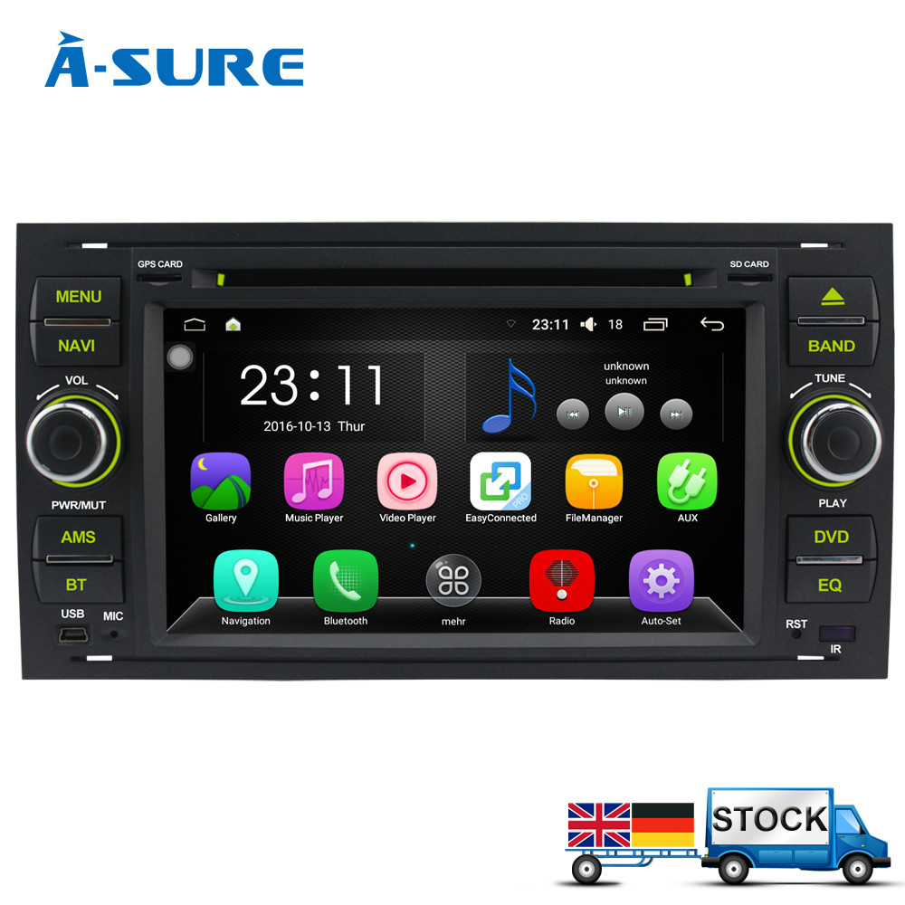 Aliexpress com buy a sure android 6 0 7 dab dvd radio player gps sat nav navigatio for ford transit focus c max s max fiesta galaxy fusion wifi from