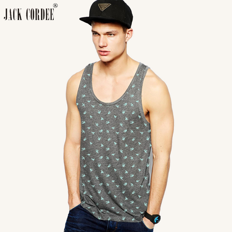 JACK CORDEE 2018 Mens Print   Tank     Top   Cotton Sleeveless Shirts Hawaiian Summer Singlets Undershirt Brand Clothing Vest Male   Tops