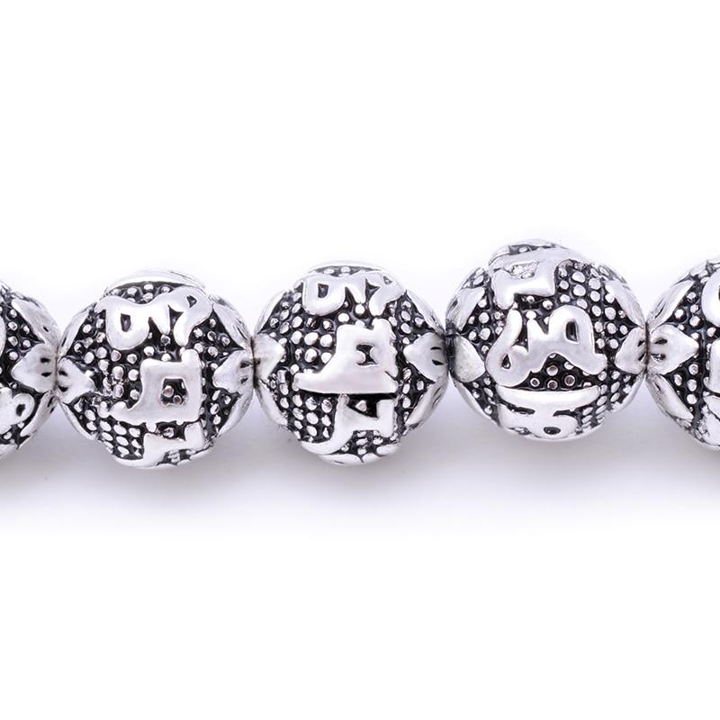 MOFRGO Charm Silver plate Multi Layers 108 Beads Bracelet For Men And Women Buddhist Meditation Six Words Mantras Lotus Bracelet