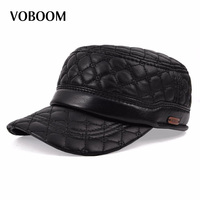 VOBOOM Diamant Stickerei Schaffell Hut Sohnkappe Hut Für Mann Echtem Leder Quinquagenarian Thermische Ohr Hüte MY0011