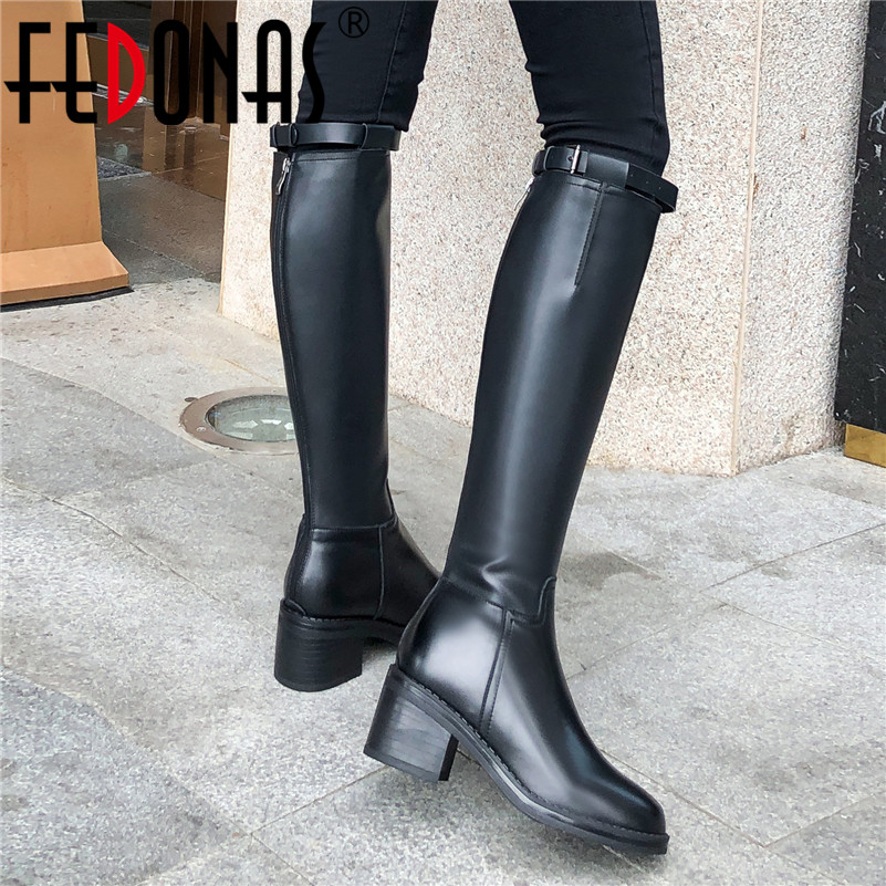 FEDONAS New Punk Motorcycle Boots Long Boots Winter Warm High Heels Women Knee High Boots Genuine Leather Party Riding Boots|Knee-High Boots| |  - title=