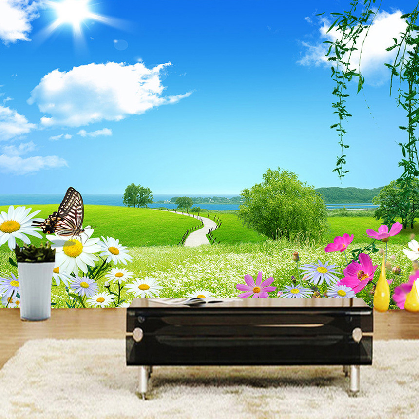 Customized 3D Wall Mural Natural Scenery Wallpaper Meadow