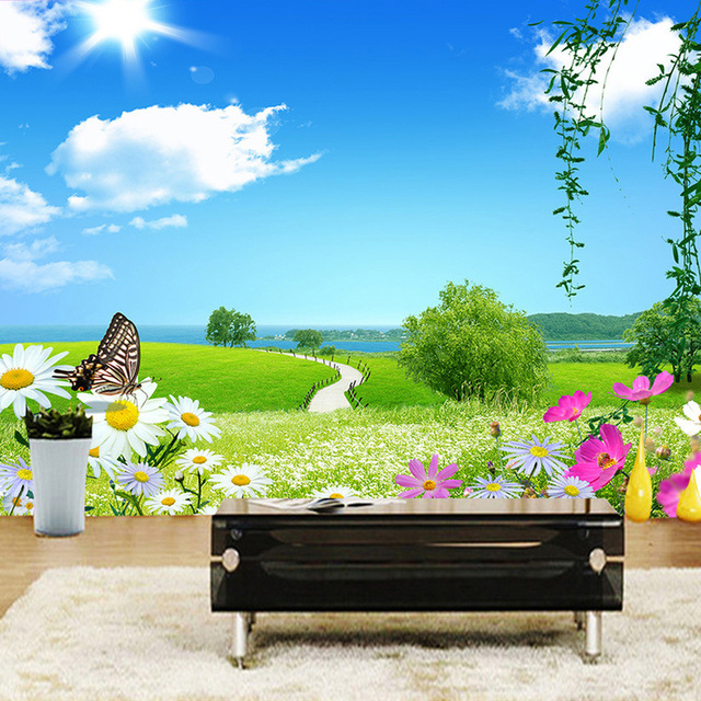 Customized 3D Wall Mural Natural Scenery Wallpaper Meadow Flowers Road Large Room Landscape