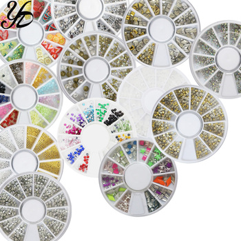 Yiday 1 Wheel 3D Rhinestones Studs Nail Art Decoration Manicure Jewelry Gold Rivet Star Round Mixed Size Mini Caviar Accessories image