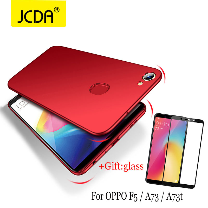 Case For OPPO F5 Case JCDA 360 Degree Full Cover silicone flip PC Protective Back Cover For OPPO F5 case For OPPO a73 case+glass