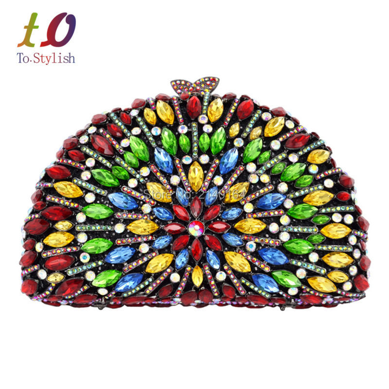 Shell Shape Burgundy Crystal Luxury Evening Clutch Party Purse Bag Women Wedding Handmade Multicolor Prom banquet Bag 88205