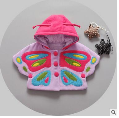 The new 2016 girls fall and winter cloak 1-3 years old children in South Korea embroidery butterfly very cute baby clothes