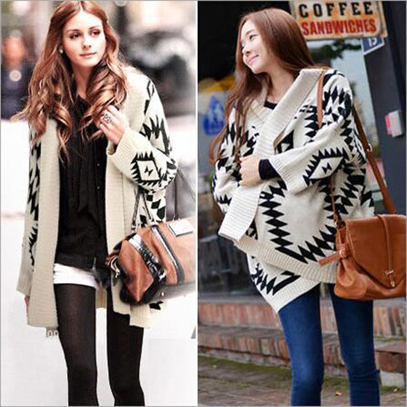 New Autumn sweater cardigan casual Bat sleeve plus size loose 2 color knit cardigan font b