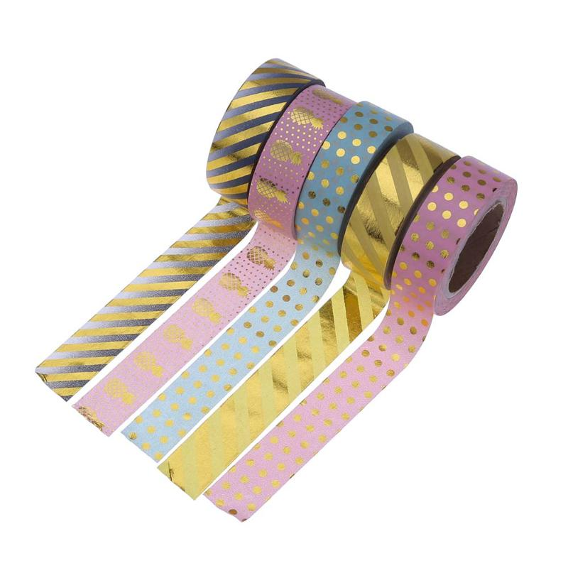5Pcs Cute Gorgeous Foil Washi Tapes DIY Scrapbooking Decor Masking Tape Stickers School Office Stationery Material Escolar
