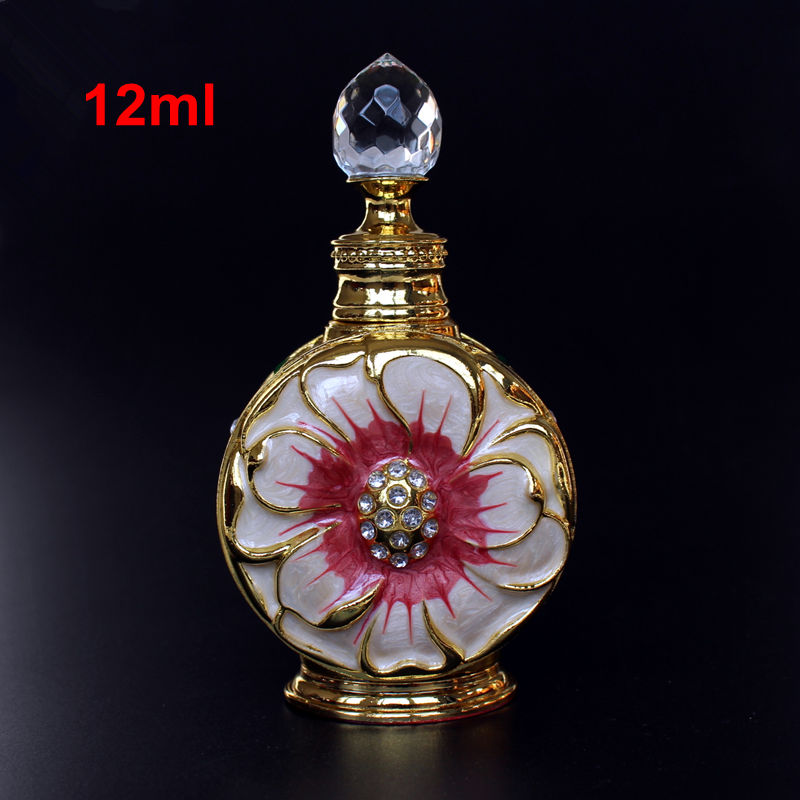 SAMBETTE 12ml Vintage Metal Perfume Bottle Glass Essential Oil Dropper Bottle Arab Style Stopper Bottle Wedding Decoration Gift цена