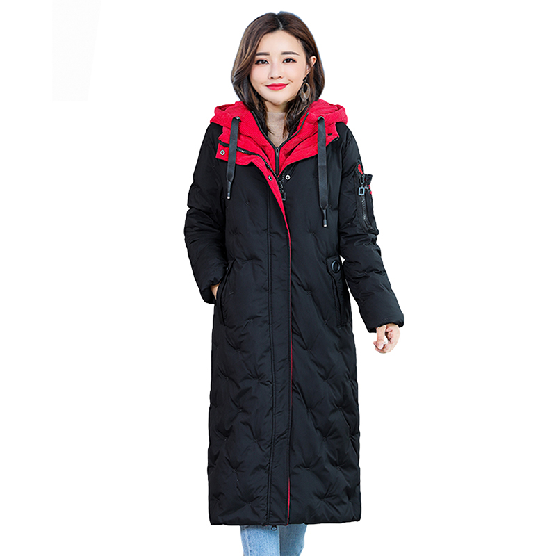 Warm Women Winter Coat 2018 Fashion Hooded Thick Jacket Women Down Cotton warm long   Parka   Long sleeve Slim Jacket   Parkas   Mujer