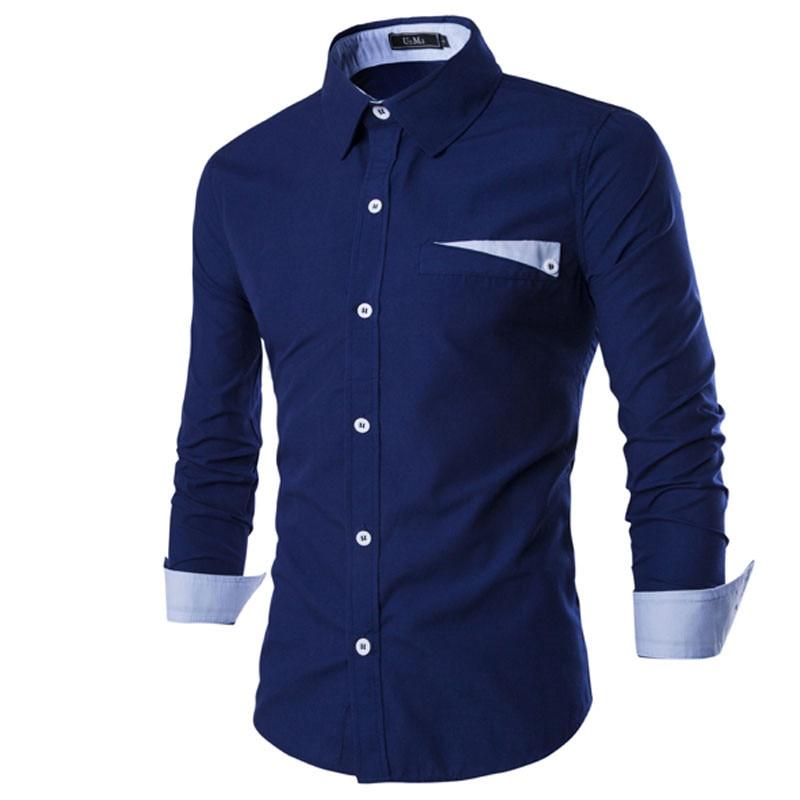 2016 new fashion casual men shirt long sleeve elastic slim for Black t shirt mens fashion