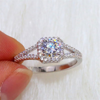 1ct Luxury Zircon Stones Square Crystal Women Wedding Ring 100% 925 Sterling Silver Female Classic Engagement Band Rings Jewelry