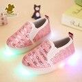 Venda quente 2017 primavera crianças shoes led chaussure enfant shoes lantejoulas light up sneakers crianças respirável esporte tênis de corrida