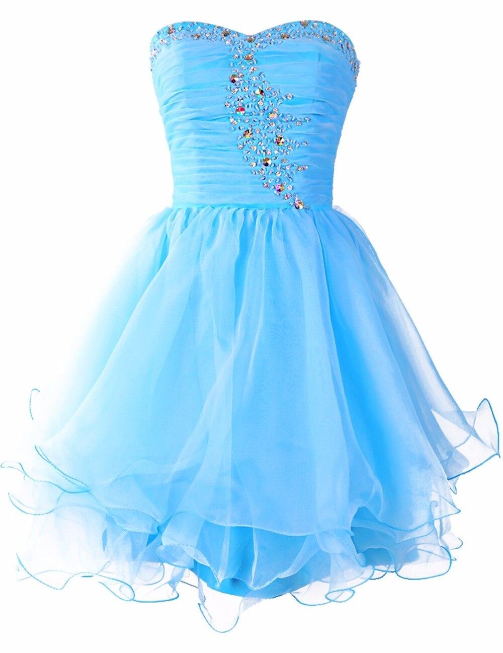 Aliexpress.com : Buy Real Photos Sky Blue Cocktail Dress 2017 Cheap ...