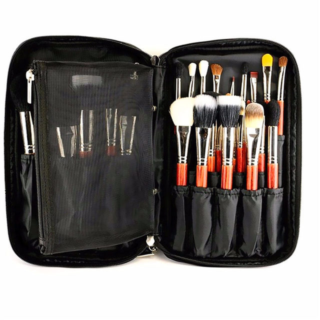 New Best Price Fashion Black Nylon Cosmetic Tool Makeup Brush Bag Case Brushes Holder Pouch Kit Bag 27x16x4cm
