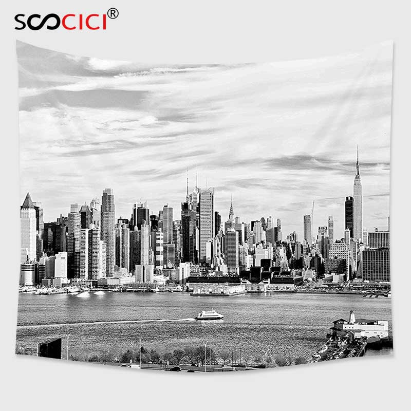 Cutom Tapestry Wall Hanging,New York Modern Famous City Panorama Urban Waterfront High Contrast Black and White Photo Black image