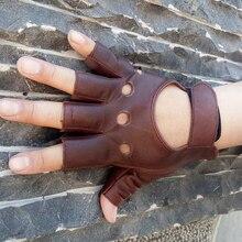 Козья кожа, Прямая поставка,, для улицы, половина пальца, для вождения, женские перчатки, 1 шт., кожаные, без пальцев, перчатки для велоспорта