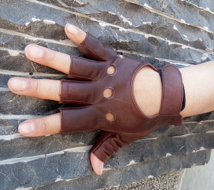 100% Goat Leather Drop Shipping 2017 Outdoor Half Finger Driving Women Gloves 1 Pcs Leather Fingerless Gloves For Cycling Gloves
