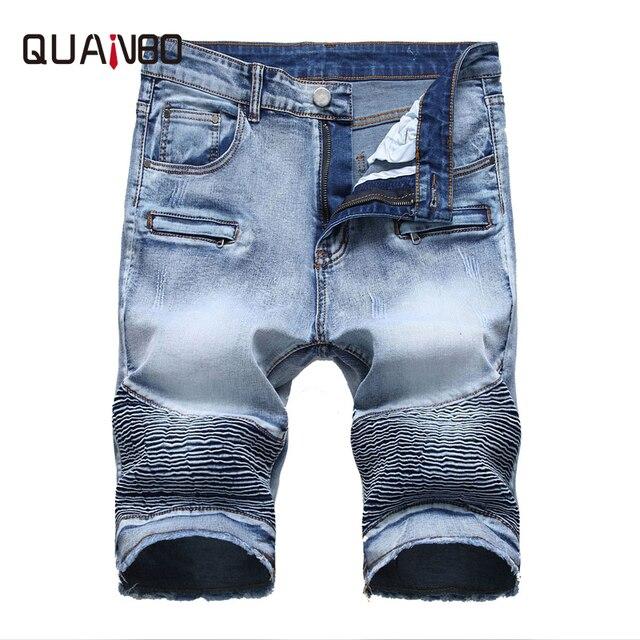 c530670e88 QUANBO 2019 Summer New Biker Moto Mens Denim Shorts Fashion Pleated Zipper  Slim Fit Men Jeans Shorts Big size 40 42 Brand