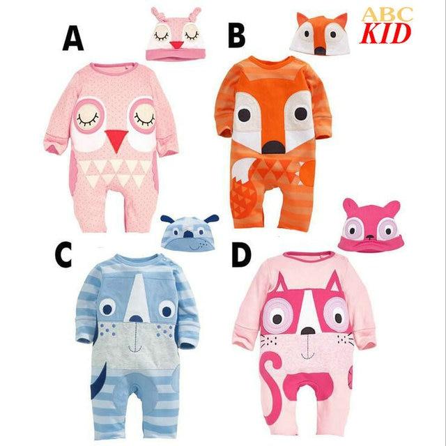 744a998df Cartoon Fox Owl Bebek Roupas Long Sleeve Romper Baby Costume Baby ...