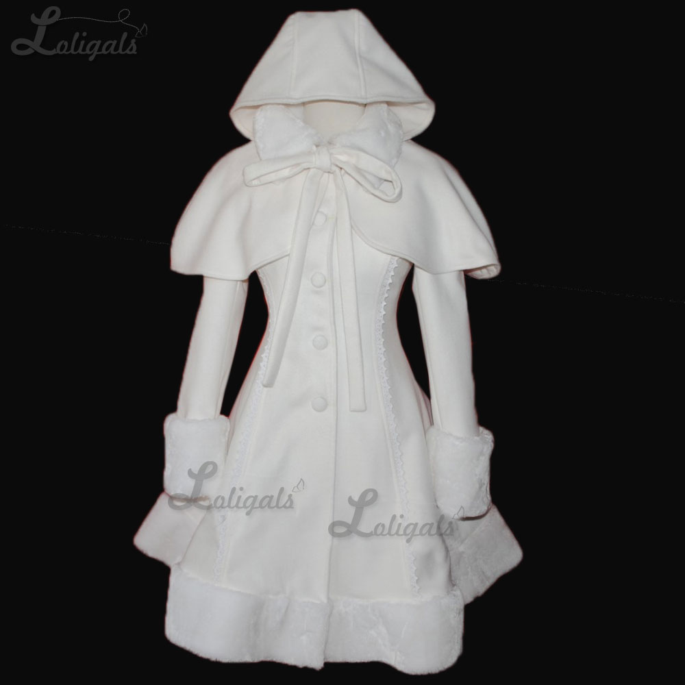 Sweet Women's Warm Long Coat Girl's White Lolita Winter Coat With Cape Plus Size Custom Tailored Abrigos Mujer Elegante