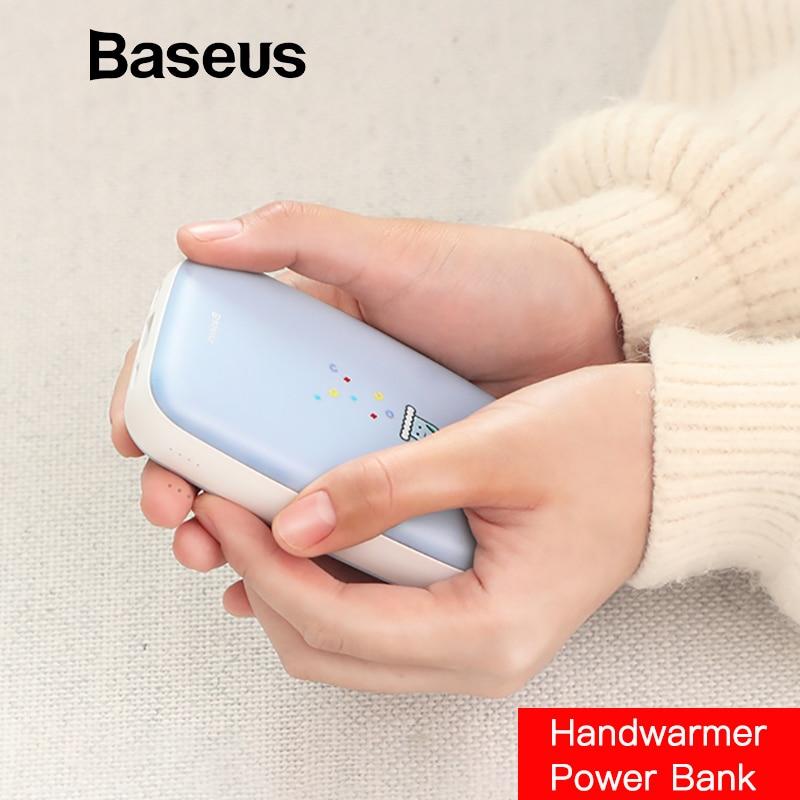 Baseus 10000 mAh Mini calientamanos, Banco de potencia para iPhone Samsung Huawei Xiaomi USB Powerbank cargador portátil de batería externa banco