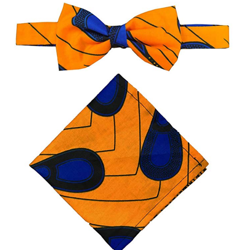 African Men'S Bow Tie Wax Print And Handkerchief Ankara Handmade Men Suit Accessories African Bownot Chokers Necklace